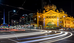 Waiting at the lights (David Barrett, The) Tags: longexposure landscape australia melbourne flindersstreetstation cbd lighttrails flindersstreet hamerhall davidbarrett wwwinspiredbythelandscapecom
