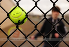 Power Serve (disgruntledbaker1) Tags: green fence ball nikon dof bokeh f14 sigma f45 tennis racquet 30mm d90