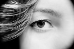 Eyeball (Carly Gnarly) Tags: iris portrait blackandwhite brown selfportrait eye girl self canon hair interesting makeup eyeball micro eyebrow brunette pupil eyeliner cateye