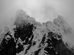 The reason not many people climb the peaks in the Huayhuash any more. Look at the cornices on that!