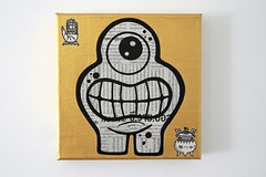 Paperized Canvas - Go To Cambodia - A New Icon ? - 01 (Jepeinsdesaliens) Tags: art lines monster illustration paper gold graffiti design sketch newspaper cambodia noir bright drawing icon dessin characters monsters varnish posca geekart icône poscapens goldenicon poscadesign ultrabrigth
