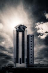 Tower of Power (redux) (MirzaB) Tags: city blackandwhite bw building tower architecture clouds skne cityscape sweden malmoe sverige malm malmo scania mirzabuljusmic