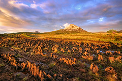 Drying The Turf - Mt Errigal (Gareth Wray - 13 Million Views, Thank You) Tags: county old ireland sunset summer vacation irish sun mountain holiday mountains abandoned tourism nature water field grass sign set sisters landscape photography drive evening countryside site nikon europe day photographer mt view cloudy heather famous wide scenic landmark visit location tourist stack glen mount peat seven pools valley heath marsh sight poison nikkor moor bog gareth turf donegal mts drying grassy poisoned wray errigal gweedore strabane dunlewey dunlewy 1024mm derryveagh d5300 flickrbronzetrophygroup