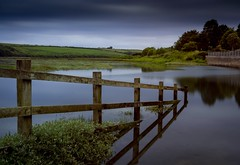 Fence (Robgreen13) Tags: uk longexposure shadow reflection green canon fence river landscape eos countryside cornwall view flood calm coastal railings northcoast 650d 10stopper iplymouth yahoo:yourpictures=landscape