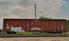FOWL (stateofoppression) Tags: minnesota train bench graffiti panel tag graf trains mpls boxcar fowl piece mn hopper railfan freight rollingstock foamer benching paintedsteel