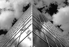 Mirrored skyline (SRD Creative Images) Tags: sky blackandwhite bw building skyline clouds blackwhite nikon miltonkeynes mirrors trainstation elements d3200