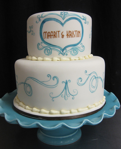Hand Painted Blue Scrollwork Wedding Cake