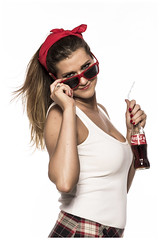 Coke girl #3 (grosz.balazs) Tags: portrait food woman white cold cute ice glass girl beautiful beauty face closeup lady female bar vintage fun happy bottle cool nice holding colorful soft pretty bright cola drink sweet background beverage young fast tasty fresh retro delicious teen blonde attractive teenager soda cocacola lovely joyful pinup freshness teenage refreshment caucasian