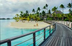 Walkway To The Beach In Bora Bora (gmsphoto) Tags: beach beauty clouds digital relax chair peaceful palmtrees walkway harmony tropical balance shelter relaxation idyllic tranquil borabora photograpy frenchpolynesia