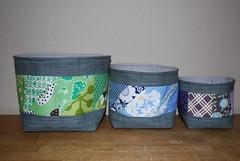 Rainbow Fabric Bowls ({Karamat}) Tags: blue red orange green nova yellow grey purple quilt gray moda bowl fabric swap scraps patchwork scrap kona nesting crossweave acuppaandacatchup