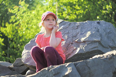 (kryshen) Tags: green nature girl rock rocks sitting child bokeh m42 karelia природа камни девочка ребенок helios442 карелия скала swirlingbokeh replaced20140825