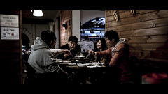 Late Night Dining (Photos By Dlee) Tags: street girl canon restaurant guys korean adobe cinematic koreanbbq 6d wideopen koreanbarbecue cs6 sinabro canon6d cinematicstreetphotography lightroom5 canonef35mmf2is photosbydlee photosbydlee13