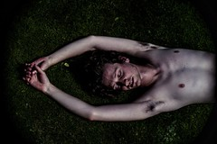To the garden (awakethetrees) Tags: boy man motion color male green grass contrast intense movement hands shadows skin body masculine portait poetic poses