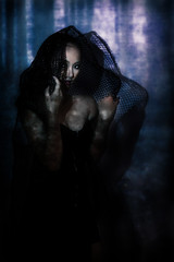 Trisha Duncan (darsanagustin) Tags: light red portrait forest vintage dark projector lips blaster classy maleficent