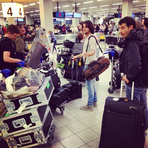 This is how we travel. Baggage hall Amsterdam airport. #andietheroadie #tcedoeuro