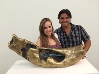 Artist Fernanda Frangetto, from Brazil, with Hamilton Aguiar, owner of Wynwood Art group gallery at the summer art walk