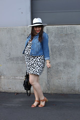 Maternity Remix: If the Hat Fits, Wear It (triplyksis) Tags: hat bag dress sandals style maternity spots jacket denim lipstick oldnavy dailyoutfit rebeccaminkoff maternityremix kelsidagger poshmark