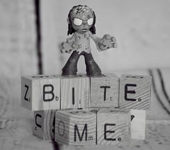 bite me zombie-B&W (ShannonVanB) Tags: zombie bw macro closeup woodblocks letters emotional funny comical