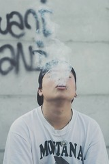 Cold smoke (JabbyFernanda) Tags: broken break cold men portrait street cool black blue smoke vsco