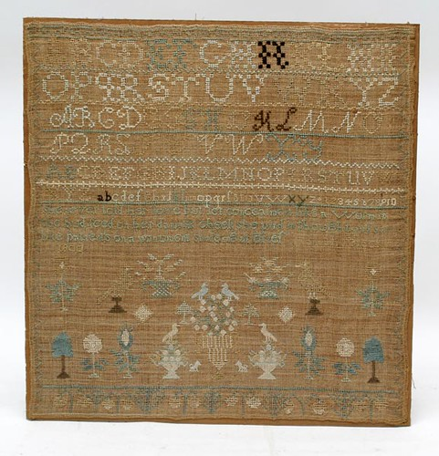 "1800 Needlework Sampler, signed ""Breck"" ($224.00)"