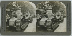 """French """"tanks"""" which saw service -- parading Paris streets (The Library of Virginia) Tags: wwi ww1 worldwarone war military army stereograph thegreatwar greatwar worldwari thefirstworldwar armouredwarfare armoredwarfare tank renault renaulttank renaultft renaultft17 ft17"""