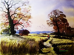 Romantic Walk in Autumn Woodland (Aurangzeb2011) Tags: watercolour watercolor autumn spring summer woods woodland england devon landscape oil painting english oaks fields colours fall sky trees hedges hedgerows meadow farms farmland countryside cow parsley bulrushes poppies brambles