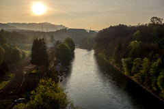 Morning sun over Aare (jaeschol) Tags: aare europa kantonbern kontinent morgen morning schweiz suisse switzerland worblaufen zeit bern ch