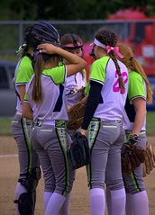 Meeting On The Mound (swong95765) Tags: girls ladies women females sport softball team meet strategy conferring