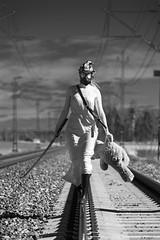 Apocalypse IV (jarnasen) Tags: d7100 nikon sigma50150mmf28 zombie wasteland tracks railroad rails cosplay gasmask girl badass sword sweden sverige geo geotag copyright järnåsen jarnasen series hunter