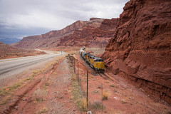 Red Rock Rolling (ajketh) Tags: up union pacific red rock canyon moab ut utah crescent jct junction cane creek subdivision emd sd60m 2272 sd70m 3983 sp southern arches national park freight train