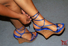 Tying the Blue Thunder Wedges (Claudio (Tania Zandalz - wife)) Tags: high heels shoes mature sexy latina kapikua1 female woman wife amateur mexico feet toes arch calves strappy wedges platform sandals tacones altos zapatos madura femenina mujer esposa pies dedos arco pantorrillas tiras cuñas plataforma sandalias