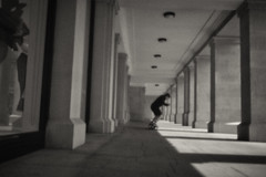 skating the edge-pinhole camera (Daz Smith) Tags: chosen dazsmith canon6d bw blackwhite blackandwhite bath city streetphotography people candid portrait citylife thecity urban streets uk monochrome blancoynegro mono pinhole experiment skateboard man shadows pillars