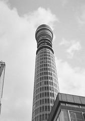 BT Tower I (bigalid) Tags: film 35mm olympus pen ee2 bw c41 fujifilm neopan 400cn halfframe london february bt tower postoffice