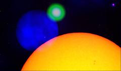 [ - the sun this week alt - ] (Tremor Saint) Tags: sun fd disks solar imagery colors orange mylar filter green weldersglass blue oddities outtakes collage science lofiscience thetronalofisolarobservatory up sky texas black