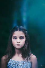 (Rebecca812) Tags: girl child serious portrait headandshoulders woods forest night moonlight blankexpression beauty atmosphere ethereal trees outdoors canon rebecca812 people childhood