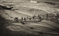 Fishermen (chris watkins wales) Tags: india kerala varkala fisherman beach net fishing sunrise