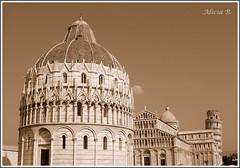 Piazza dei Miracoli - In Explore (Alicia B,) Tags: italia italy pisa torreinclinadadepisa plazadelosmilagros sepia