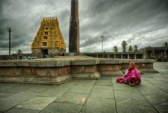 Pink Paati. (Prabhu B Doss) Tags: prabhubdoss travelphotography temple hoysala belur chennakesava hindu old lady paati pink saree woman clouds nikon d80