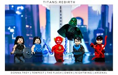 [DC] Every Second Is A Gift (| Jonathan |) Tags: lego dc comics rebirth titans manhattan tower donna troy wonder girl garth tempest the flash wally west omen lilith clay nightwing dick grayson arsenal roy harper custom superheroes minifigures purist figbarf every second is gift