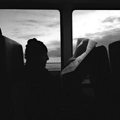 Morning News (Jeremy Brooks) Tags: bw blackwhite blackandwhite bridge bus california goldengate goldengatebridge newspaper reading sanfrancisco sanfranciscocounty usa camera:make=apple camera:model=iphone5se person unitedstates us