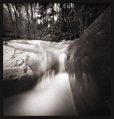 River Rocks -- Muddy Creek (DRCPhoto) Tags: nopo pinhole lenslessphotography kodak portra 400bw muddycreek westvirginia