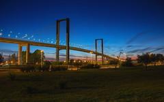 Fusionando puentes de luces (Gonzalo Viedma González) Tags: puente sevilla españa canon vcentenario canon60d geotagged atardecer horaazul blue bridge