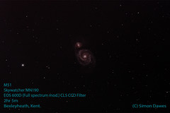 M51 2h5min from light polluted bexleyheath using MN190 and CLSCCD clip in filter on modified EOS600D DSLR (simon.dawes) Tags: m51