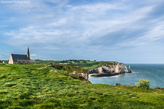 The Chapel and the Arch (Karosei) Tags: albastercoast coted'albatre etretat frankrijk french normandië thechapellenotredamedelagarde alabastercoast cliffs coast falaise france hiking laiguille lafalaisedavaletlaiguille licht light normandie normandy rotskust ©karoseiphotography