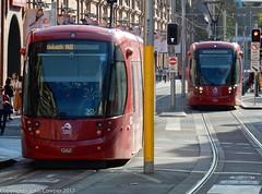 Sydney Light Rail - Coming and going in Hay Street (john cowper) Tags: sydneylightrail lrv2122 lrv2115 haystreet haymarket capitol transportfornsw transdev sydneypublictransport urbos3 sydney newsouthwales
