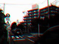 Landscape (hoshinosuna bega) Tags: road red building car sign japan dark landscape saturation april fujifilm mansion everyday today cellophane 2014 dscf4432