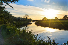Canal Sunset (stumpyheaton) Tags: uk blue sunset sky sun green water grass clouds landscape outside evening canal nikon shropshire cheshire union beeston vapour d5100