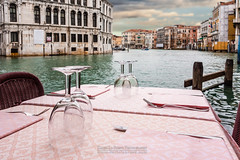 Venetian restaurant (Dario Lo Presti) Tags: travel venice sunset sea italy tourism water glass architecture clouds dinner private table lunch outdoors restaurant canal europe mediterranean day riverside chairs silverware little traditional culture nobody lagoon tourist quay gourmet shore meal tables romantic dining tablecloth setting vacations luxury hospitality waterside grandcanal gastronomy tableware destinations terrase tableset romanticdinner