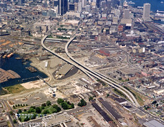 Aerial view of Strathcona to Downtown, with Georgia Viaduct, False Creek, Canadian Central Station and Canadian Western Cooperage sawmill, 1970's,Sayle Gordon (vancouverbyte) Tags: vancouver vintagevancouver