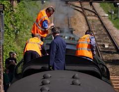 Crew on the Tender (McTumshie) Tags: england train canal unitedkingdom railway surrey steam locomotive guildford riverwey shalford 35028 merchantnavyclass clanline 1z82 belmondbritishpullman 3may2014